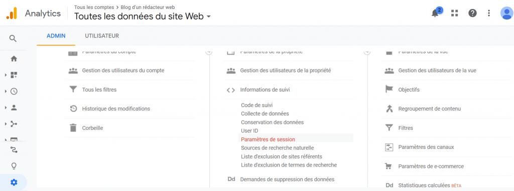 Blog d'un rédacteur web - durée de la session dans Google Analytics