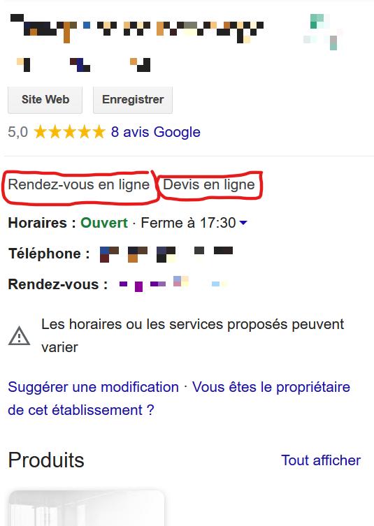 Fiche Google My Business avec les nouveaux attributs