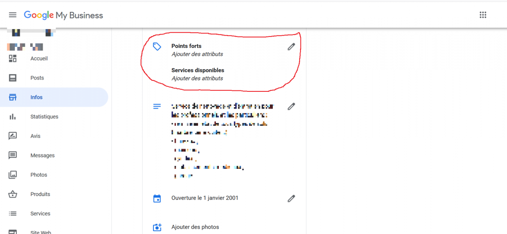 Attributs Google My Business