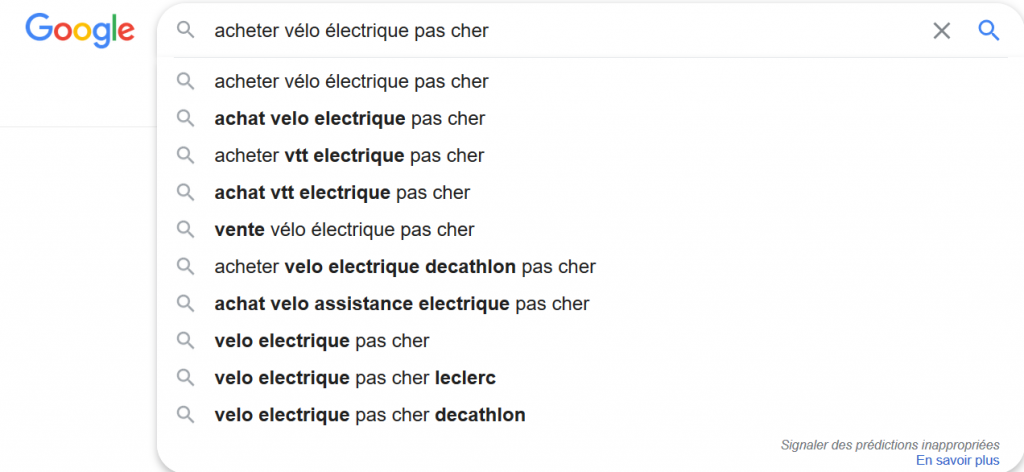 Utiliser Google Suggest pour une requête spécifique