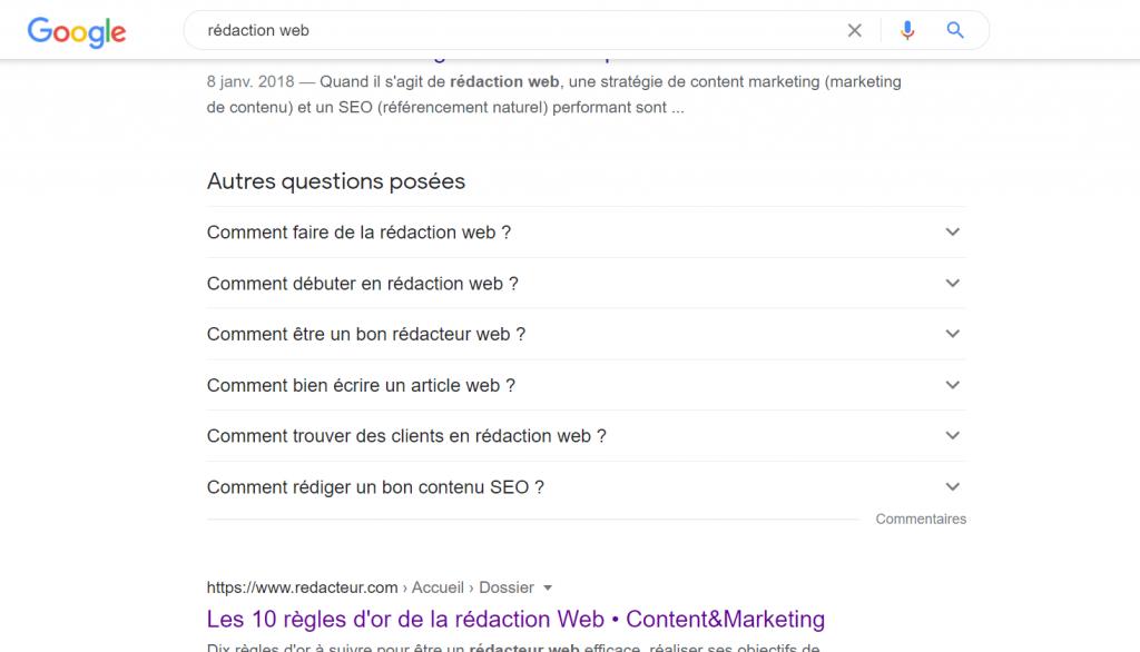 """Un affichage des """"autres questions posées"""" en 1ère page de Google"""