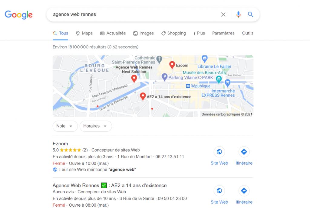Affichage d'un pack local 1ère page de Google