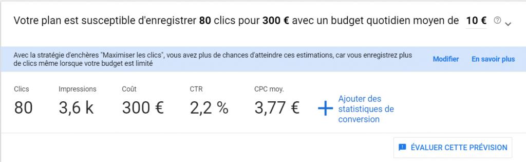 Volume de recherche et prévisions dans Google Keyword Planner